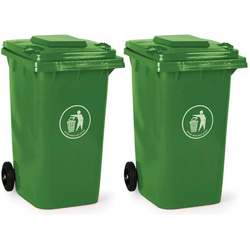 2x kunststoff-mülltonne 240 liter, grün