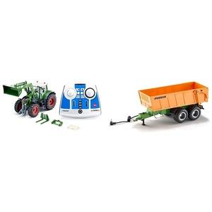 siku 6796, Fendt 933 Vario Traktor mit Frontlader, Grün, Metall/Kunststoff, 1:32, Ferngesteuert & Tandem-Achs-Anhänger, 1:32, Fernsteuerbar, Für SIKU Control Fahrzeuge mit Anhängerkupplung, Orange