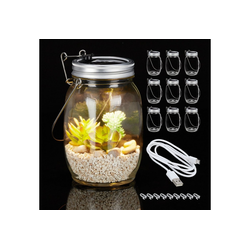 relaxdays Gartenleuchte 10 x Solarlampe Glas mit USB