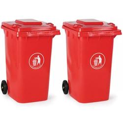 2x kunststoff-mülltonne 240 liter, rot