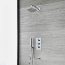 UP Duschsystem für Badewanne mit Thermostat, 20cm rundem Wand-Duschkopf, Brause & Wanneneinlauf, Chrom - Arcadia