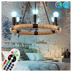 etc-shop Kronleuchter, Hanfseil Kronleuchter Wohn Zimmer Beleuchtung Fernbedienung Decken Pendel Lampe Hänge Lüster dimmbar