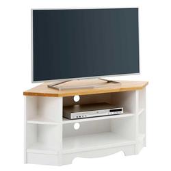 Landhaus Eckschrank für Fernseher Weiß und Kiefer Honigfarben