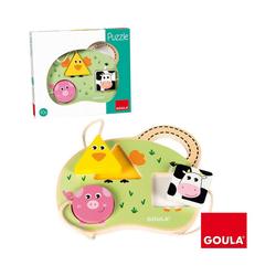 Goula Puzzle Holzpuzzle 3 Bauernhoftiere, Puzzleteile