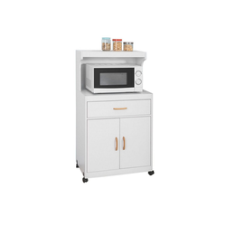 SoBuy Küchenwagen FSB12, Mikrowellenschrank mit Rollen Küchenschrank mit 2 Ablagen, 2 Türen und 1 Schublade