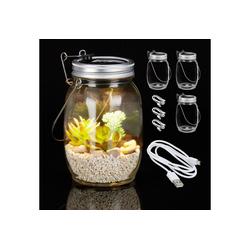 relaxdays Gartenleuchte 4 x Solarlampe Glas mit USB