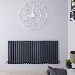Design Paneelheizkörper Anthrazit Grau 635x1411mm 1433W - Revive Horizontal Einlagig, von Hudson Reed