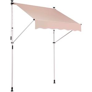 CLP Klemm-Markise Westerly I Ohne Bohren I Höhenverstellbar I UV50+ I Wasserdicht, Farbe:beige, Größe:150x120 cm