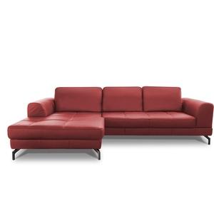 CAVADORE Ledergarnitur Benda/ Großes Ecksofa mit XL-Longchair links & Federkern / Inkl. Sitztiefenverstellung / 284 x 87 x 175 / Echtleder: Rot