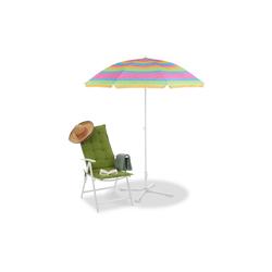 relaxdays Sonnenschirm Gestreifter Strandschirm 210 cm hoch