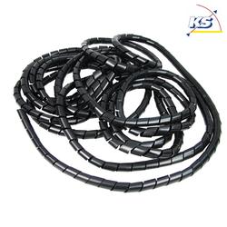 HEITRONIC Spiral-Kabelschlauch, 10m, Innen-Ø: 15mm, Außen-Ø: 19-50mm, schwarz HEI-48631
