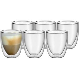 WMF Kult doppelwandige Cappuccino Gläser Set 6-teilig, doppelwandige Gläser 250ml, Schwebeeffekt, Thermogläser, hitzebeständiges Teeglas, Kaffeeglas