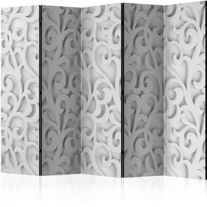 5-teiliges Paravent - White ornament II [Room Dividers]