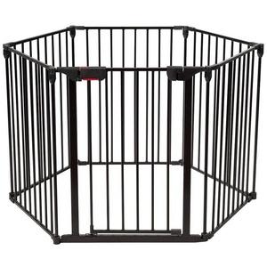 COSTWAY Treppenschutzgitter Laufgitter, Kaminschutzgitter klappbar, mit Sicherheitstür, inkl. Wandhalterung, 6 Elemente schwarz
