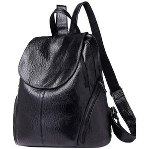 Damen Soft Leder Rucksack Handtasche Schultertasche All in One Multifunktions Anti Diebstahl Tasche wasserdichte Rucksack Tasche Schulrucksack Umhängetasche (Schwarz)