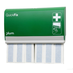 Plum QuickFix Pflasterspender Detectable Long, Wandspender für QuickFix Detectable Long, inkl. 2 x 30 detectable Fingerverbänden  12 x 2 cm