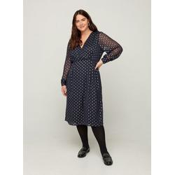 ZAY Abendkleid Große Größen Damen Langarm Wickelkleid mit V-Ausschnitt L (50/52)