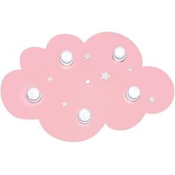 Waldi-Leuchten Deckenleuchten Deckenleuchte Wolke, rosa/weiß, 5-flg.