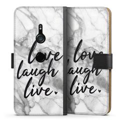 DeinDesign Handyhülle Love, Laugh, Live Marmor Sony Xperia XZ 3, Hülle Marmor Sprüche Liebe schwarz