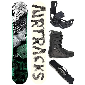 Airtracks Snowboard Set - Board STEEZY Wide 155 - Softbindung Master - Softboots Strong 45 - SB Bag