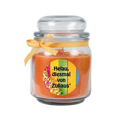 HS Candle Duftkerze (1-tlg), Karneval - Fasching Kerze im Bonbon Glas, Kerze mit Karneval's - Motiv orange Ø 9 cm x 9 cm x 13 cm