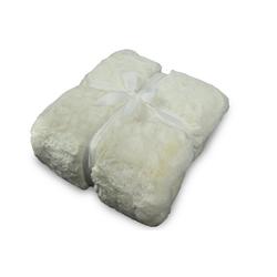 Wohndecke, jilda-tex, schwere, hochwertige und warme Fellimitat-Decke weiß