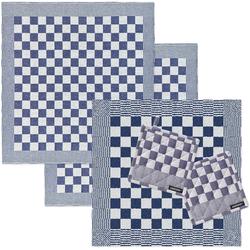 DDDDD Geschirrtuch Barbeque, (Set, Combi-Set: bestehend aus 1x Küchentuch, 2x Geschirrtuch & 2x Topflappen) blau
