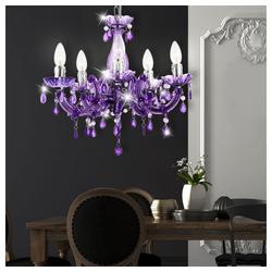 etc-shop Kronleuchter, Hängeleuchte Hängelampe Kronleuchter Beleuchtung Lampe Leuchte 6311_Variante lila