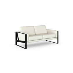 machalke® 2-Sitzer frame, Ledersofa mit Kufe in Schwarz weiß