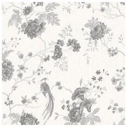Vliestapete Vogel & Blumen, (1 St), Weiß/Silber - 10m x 52cm