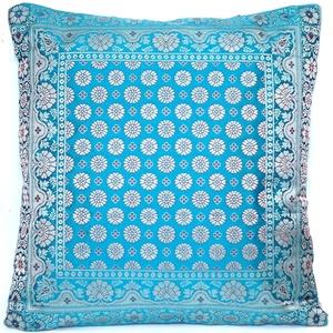 Kashmir Handicrafts Dekokissen, Sofakissen, Kissenbezug, Royal Grün Kissenhülle aus Indische Banarasi Seide - 40cm x 40cm.