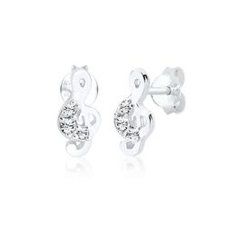 Elli Paar Ohrstecker Notenschlüssel Swarovski® Kristalle 925 Silber, Notenschlüssel