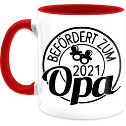 Shirtracer Tasse Befördert zum Opa 2021 Kreis - schwarz - Tasse für Opa - Tasse zweifarbig, Keramik