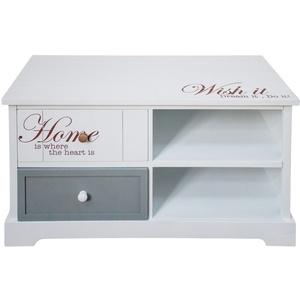 Kommode Schriftzug 2 Schubladen weiß 2 Ablagefächer Wohn Schlaf Zimmer Schrank