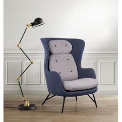 andas Sessel Andris, in modernem Design, Ohrensessel blau