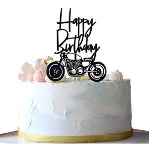 2 Stücke Acryl-Tortenaufleger, Motorrad Tortenaufsatz, Cake Topper Happy Birthday, Geeignet für Geburtstagsfeiern für Motorradliebhaber, Kinder und Erwachsene(Schwarz)