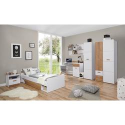 Ticaa Jugendzimmer-Set Lori, (Set, 6-tlg), Bett + Schrank + Schreibtisch + Standregal + Wandregal + Nachttisch weiß