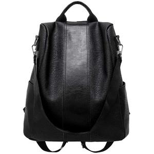 Smniao Damen Rucksack Anti-Diebstahl Wasserdichte Nylon Schultaschen Tagesrucksack Soft PU Leder Handtasche Schultertaschen (Schwarz)