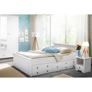 Home affaire Schlafzimmer-Set Hugo, (Set, 3-St), Bett 140cm, 2-trg Kleiderschrank und 1 Nachttisch weiß