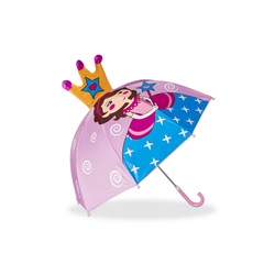 relaxdays Stockregenschirm Kinderregenschirm mit 3D Motiv rosa
