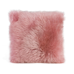 Gözze Schaffell-Kissen, 40 x 40 cm, Echtfellkissen in aktuellen trendigen Farben, Farbe: altrosa