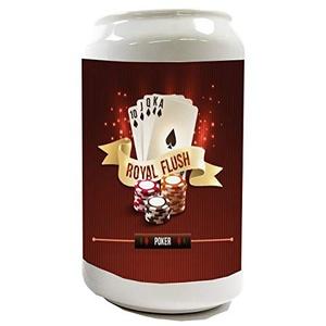 LEotiE SINCE 2004 Spardose Sparbüchse Geld-Dose Wiederverschließbar Farbe Weiß Nostalgie Poker Keramik Bedruckt