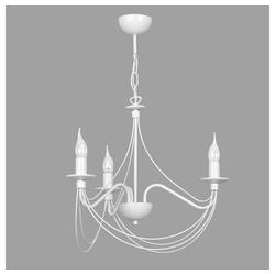famlights Kronleuchter , Kronleuchter Kira aus Metall in Weiß 3xE14 max.4, Kronleuchter weiß Ø 53 cm x 73 cm