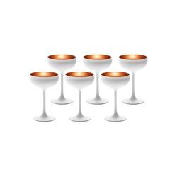 Stölzle Gläser-Set ELEMENTS Champagnerschale Weiß-Bronze 6er Set (6-tlg)