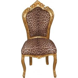 Casa Padrino Barock Esszimmer Stuhl Leopard/Gold Mod2 - Barock Möbel