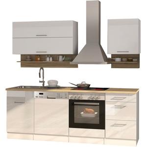 Küchenzeile mit Elektrogeräten Einbauküche mit Geräten 220 cm hochglanz weiss