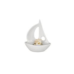 formano Teelichthalter Teelichthalter Keramik SEGELBOOT weiß (1 Stück)