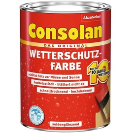 Consolan Wetterschutz-Farbe 2,5 l Schwedenrot seidenglänzend