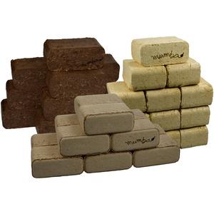 mumba - Probierset insgesamt 30kg Holzbriketts (10kg Rindenbriketts eckig, 10 kg Mischholzbriketts eckig und 10kg Buchenbriketts eckig)