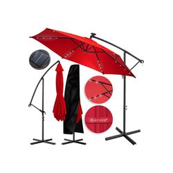 KESSER Ampelschirm, 3m+3,5m LED Sonnenschirm Ampelform, Ø300cm-350cm, mit Abdeckung & Kurbelvorrichtung, UV-Schutz, Aluminium, mit An- und Ausschalter, Wasserabweisend, Schirm, Garten Ampelschirm rot